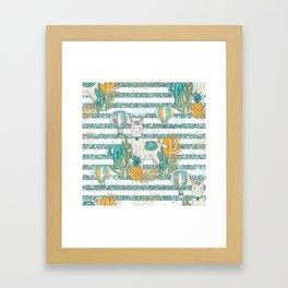 Cute Llama & Succulent Teal Glitter Stripe Pattern Framed Art Print