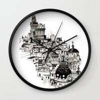 real madrid Wall Clocks featuring Madrid by Justine Lecouffe