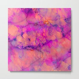 Pop of Color, Pink Marble Abstract, Texture Graphic Design, Eclectic Bohemian Painting Metal Print