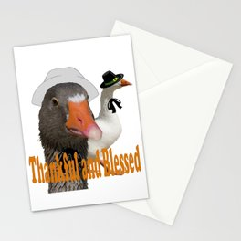 Thankful and Blessed Thanksgiving Pilgrims Stationery Cards
