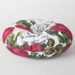 Red & White Roses Floor Pillow