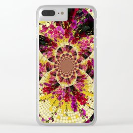 ABSTRACTED FUCHSIA-PINK HOLLYHOCKS GARDEN FLORA Clear iPhone Case