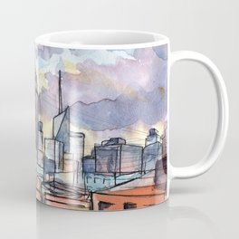 """""""Sky-lines"""" New York Skyline at sunset from Brooklyn rooftop view Coffee Mug"""