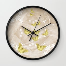Gold butterflies on stormy iced-coffee flower mandala Wall Clock