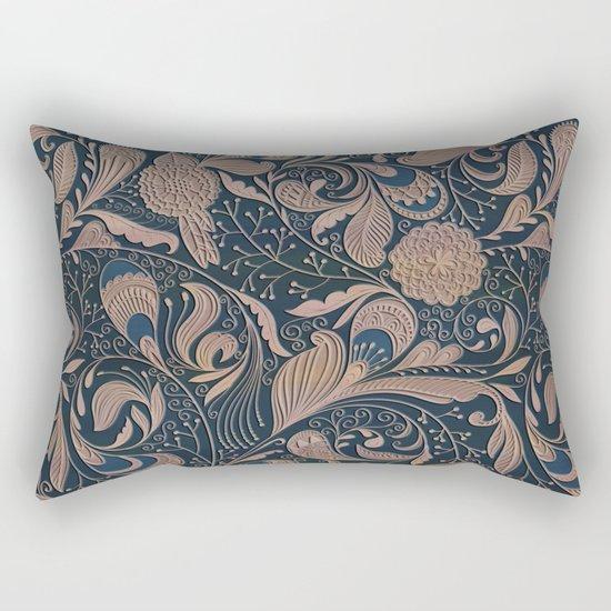 Carved Floral Pattern Rectangular Pillow