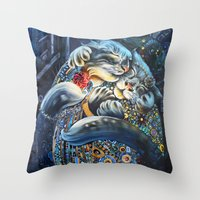 fitzgerald Throw Pillows featuring The Fitzgeralds by Christina Hess