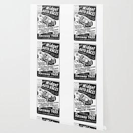 Midget Auto Races, Race poster, vintage poster, bw Wallpaper