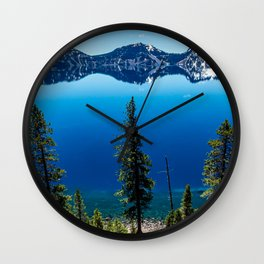 Three Tree View // Crater Lake National Park Oregon Deep Blue Peaceful Water and Mountain Landscape Wall Clock
