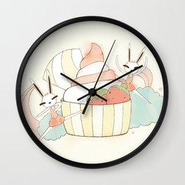 Bunny In Tutu: frozen yoghurt Wall Clock