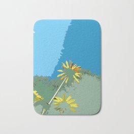 Flowers, abstract photography digital, blue green yellow Bath Mat
