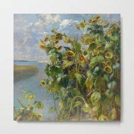 Tidewater Sunflowers on the seacoast landscape painting by Hélène Funke Metal Print