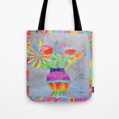 Flower Vase | Kids Painting | 3D Collage Tote Bag