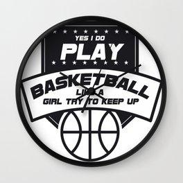 Girls Basketball Sport Gift Wall Clock