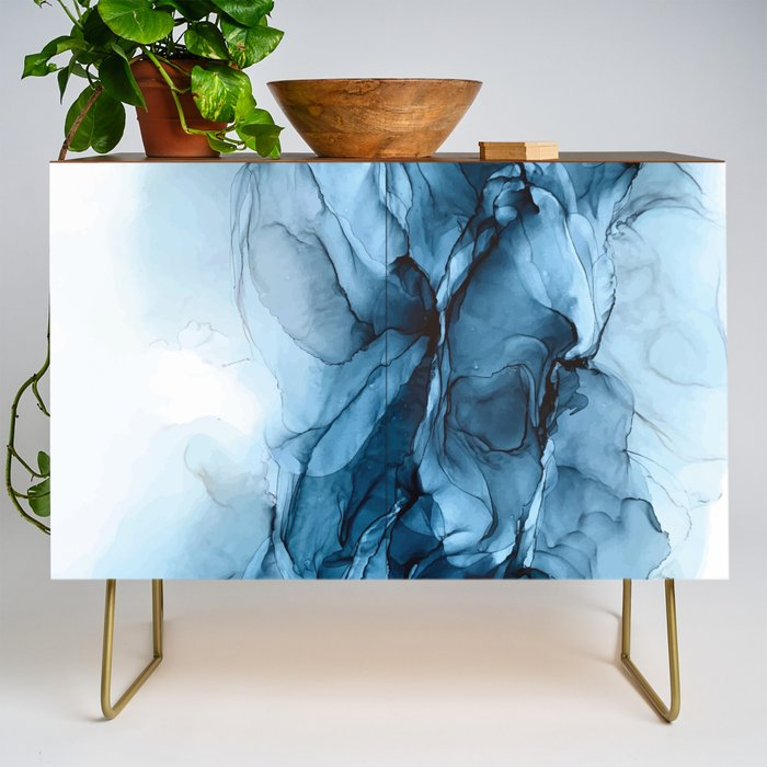 Deep_Blue_Flowing_Water_Abstract_Painting_Credenza_by_ELIZABETH_KARLSON__Gold__Walnut