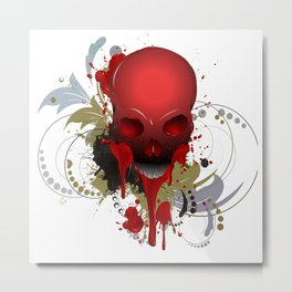 Beautiful Bleeding Skull Metal Print