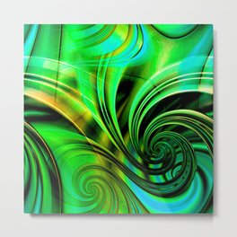 Curls Deluxe Green Metal Print
