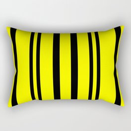 NEON YELLOW AND BLACK THIN AND THICK STRIPES Rectangular Pillow