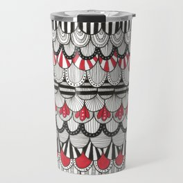black white and red scaley pattern Travel Mug