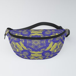 Abstract kaleidoscope of wattle blooms on textured background Fanny Pack