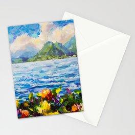 Original palette knife painting Warm summer seascape by Valery Rybakow Stationery Cards