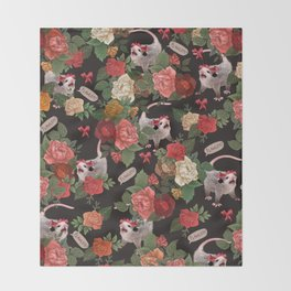 Opossum Floral Pattern (with text) Throw Blanket