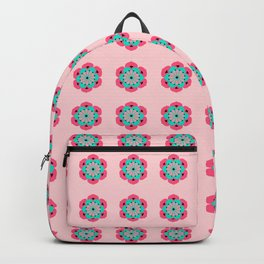 Lotus Flower Mandala, Coral Pink and Turquoise Backpack