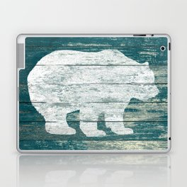 Rustic White Bear on Blue Wood Lodge Art A231b Laptop & iPad Skin