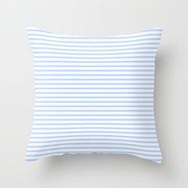 Mattress Ticking Narrow Horizontal Stripe in Pale Blue and White Throw Pillow