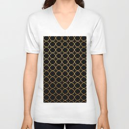 Elegant black faux gold glitter chic quatrefoil vector illustration Unisex V-Neck