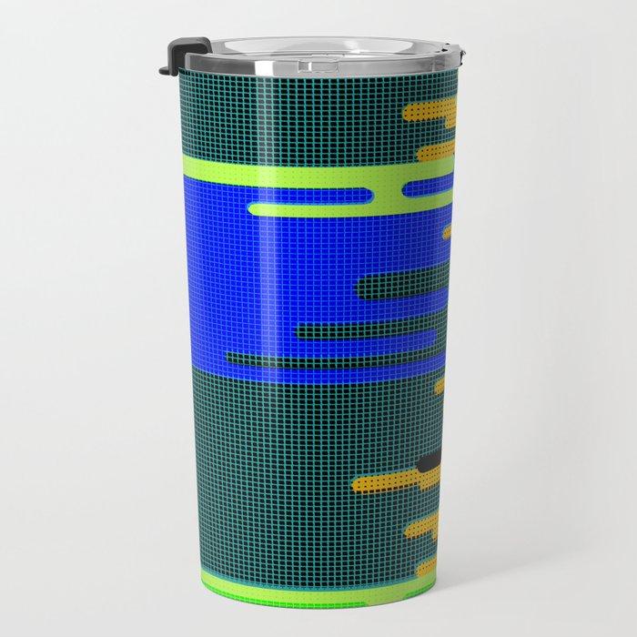 Blue Green Yellow 8Bit Clouds Travel Mug