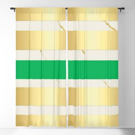Gold & Green Stripe on Marble Blackout Curtain