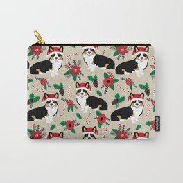 Tricorgi Christmas Floral print - tri corgi blanket, tricolored corgi, corgi gift, corgi lover, cute Carry-All Pouch