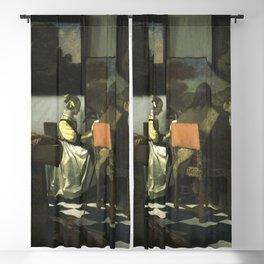 Stolen Art - The Concert by Johannes Vermeer Blackout Curtain