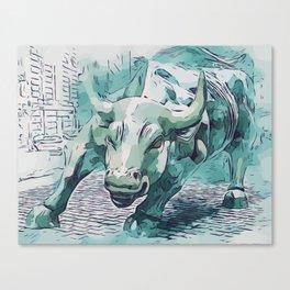 Bull Stock Exchange Bull Market Shares Shareholder Abstract Art Gift Canvas Print