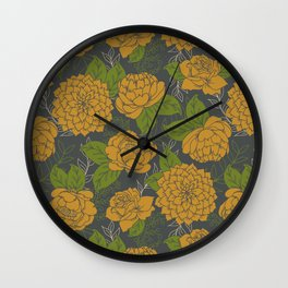 Floral Pattern in Goldenrod and Green Wall Clock