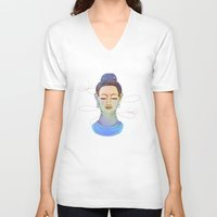 buddha V-neck T-shirts featuring Buddha by Vanya