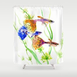 Guppy Fish colorful fish artwork, blue orange Shower Curtain