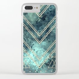 Jade Chevron Gold Clear iPhone Case