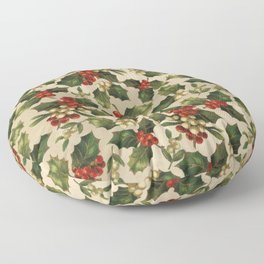 Gold and Red Holly Berrys Floor Pillow