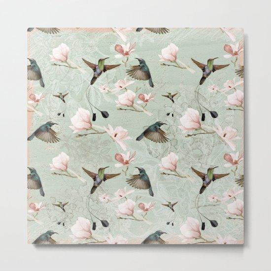 Vintage Watercolor hummingbird and Magnolia Flowers on mint Background Metal Print