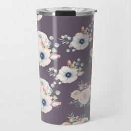 Dog Rose Pattern  Mauve Travel Mug
