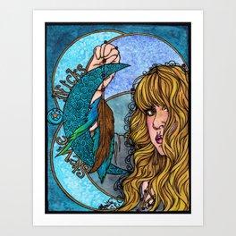 Turquoise Moon Art Print