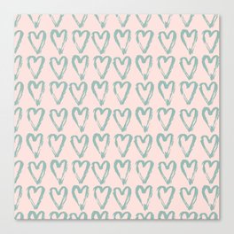 Love Heart Pattern - Mix & Match with Simplicty of life Canvas Print