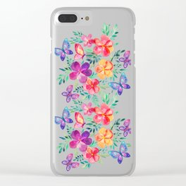 Summer Blooms & Butterflies on Dark Purple Clear iPhone Case