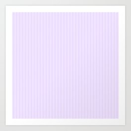 Chalky Pale Lilac Pastel and White Mattress Ticking Stripes Art Print