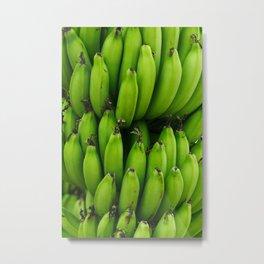 Green banana fruit pattern Metal Print