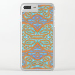 Orange and blue abstract pattern in eastern style Clear iPhone Case