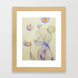 Bubbles and Goldfish Framed Art Print