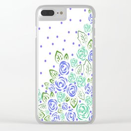 Garden Rose and Dots - Blue Mint Clear iPhone Case