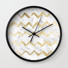 Modern faux gold chevron hand drawn white marble Wall Clock